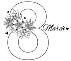 8 de março. cartão de férias para o dia internacional da mulher. o número oito, um buquê de flores, corações e folhas. vetor. desenho decorativo, linha preta, contorno
