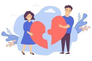 casal monta um quebra-cabeça de metades do coração. um homem e uma mulher se reúnem juntando duas peças em um grande coração vermelho. ilustração vetorial. o conceito de amor, recuperação de relacionamento e família