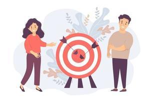 um homem e uma mulher perto de um alvo com setas no centro. conceito de negócio - objetivo, trabalho em equipe e colaboração, resultado e sucesso, alvo atingido. ilustração vetorial