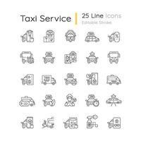 conjunto de ícones lineares de serviço de táxi