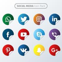 Coleção Social Media Round vetor
