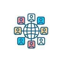 ícone de cor rgb da comunidade internacional