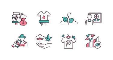 conjunto de ícones de cores rgb de negócios responsáveis