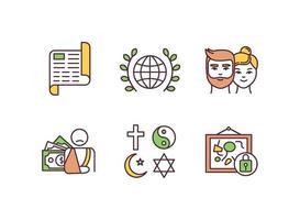 conjunto de ícones de cores rgb de direitos civis e políticos