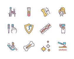 conjunto de ícones de cores rgb de procedimentos médicos