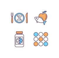 conjunto de ícones de cores rgb biohacking