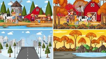 conjunto de diferentes cenas de fundo da natureza vetor