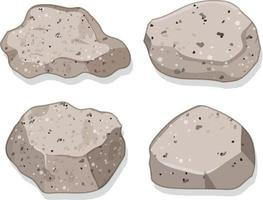 conjunto de pedras de granito isoladas no fundo branco vetor