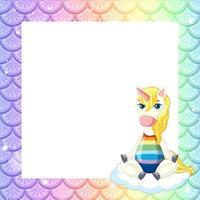 modelo de quadro de escalas de peixes arco-íris pastel em branco com o personagem de desenho animado de unicórnio vetor