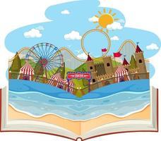 livro aberto com cena de parque de diversões vetor