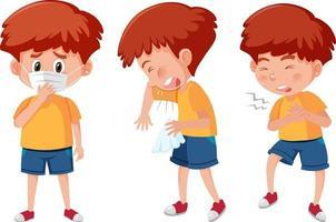 conjunto de um personagem de desenho animado de menino com diferentes posições vetor