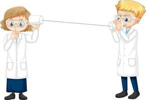 dois jovens cientistas fazendo experimento com string phone vetor