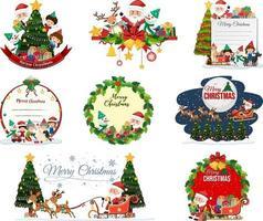 conjunto de cartão postal de natal em branco e logotipo isolado vetor