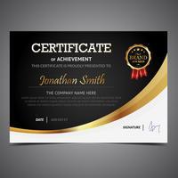Certificado de preto e ouro vetor