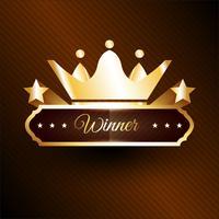 Rótulo de vencedor dourado com fita