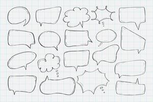 coleção de balões de fala desenhados à mão vetor