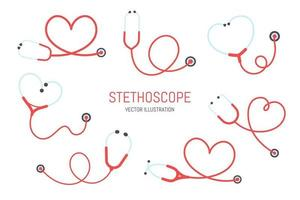conjunto de estetoscópio vermelho vetor