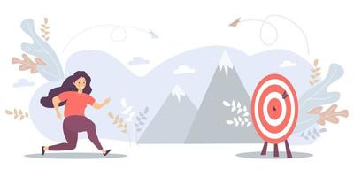 uma mulher corre para o seu alvo, move-se na motivação para a meta, no caminho para o auge do sucesso. ilustração vetorial para tarefa, objetivo, realização, negócio, marketing e conceito de negócio