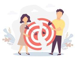 ilustração vetorial conectando as duas metades do objetivo, trabalho em equipe, colaboração, resultado e sucesso. conceito de negócio - homem e mulher segurando metades de um alvo com flechas acertando o alvo