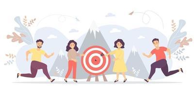 conceito de negócio - as pessoas estão se movendo em direção ao objetivo, movimento e motivação em direção ao auge do sucesso. vetor. para trabalho em equipe e parceiros, objetivos e realizações, conceitos de negócios e marketing