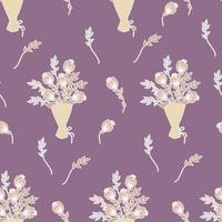 padrões sem emenda. buquê de flores, brotos, ramos e folhas em um fundo rosa escuro. ilustração vetorial. adesivos de flores botânicas para decoração de natal, dia dos namorados, decoração e decoração