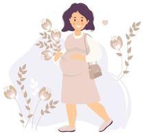 maternidade. mulher grávida feliz em um vestido rosa, sorrindo com uma mão, abraçando suavemente sua barriga e segurando um buquê de flores com a outra. ela ama. vetor. ilustração plana
