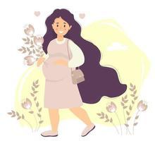 futura maternidade. feliz mulher grávida com cabelo comprido em vestido abraça suavemente sua barriga com uma mão e segura um buquê de flores com a outra. uma bolsa está pendurada no ombro. ilustração vetorial