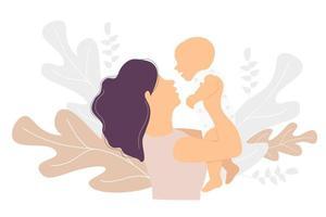 maternidade. mulher feliz com um bebê nos braços em um fundo com uma decoração tropical de galhos e plantas. ilustração vetorial. conceito - mãe e bebê. apartamento de vetor de família