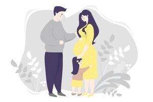 maternidade. família vetor plana - mulher grávida feliz em um vestido amarelo, abraça suavemente a barriga. ao lado dela está uma filha pequena e um marido em um fundo cinza com plantas. ilustração vetorial