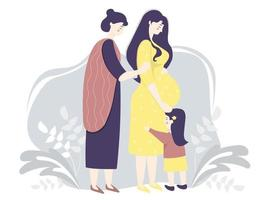 maternidade e família vetor plana. mulher grávida feliz em um vestido amarelo abraça suavemente a barriga. ao lado dela está uma mulher mãe e filha em um fundo decorativo com folhas. ilustração vetorial