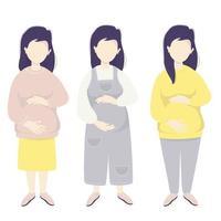 maternidade. conjunto de vetores Mulher grávida feliz abraços ternamente sua barriga com as mãos em roupas diferentes para mulheres grávidas - macacão, saia, ilustração vetorial de calças. ilustração plana