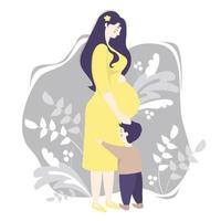 maternidade. mulher grávida feliz em pleno crescimento em um vestido amarelo, abraça ternamente sua barriga e um filho pequeno parado por perto. fundo cinza, decorado com ramos e plantas. ilustração vetorial