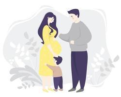 maternidade. mulher grávida feliz em pleno crescimento em um vestido amarelo, abraça suavemente a barriga. ao lado dela está a família - filho e marido. fundo decorativo cinza com plantas. ilustração vetorial