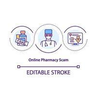 ícone de conceito de golpe de farmácia online
