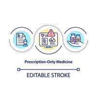 ícone do conceito de medicamento apenas com prescrição