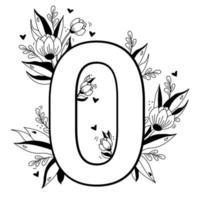 número da flor. padrão floral decorativo dígito zero. big 0 com flores, botões, ramos, folhas e corações. ilustração vetorial no fundo branco. linha, esboço. para cartões de felicitações, design, decoração vetor