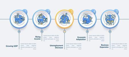 economia ajustando e recuperando modelo de infográfico de vetor de ganhos