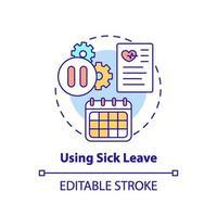 usando o ícone do conceito de licença médica