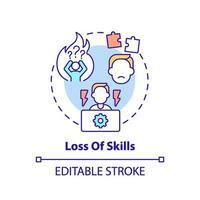 ícone do conceito de perda de habilidades