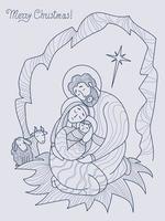 feliz Natal. virgem maria, José e o bebê jesus cristo na caverna, ao lado de uma ovelha. noite sagrada o nascimento do salvador e da estrela de Belém. vetor. linha, esboço. feriado religioso em família vetor