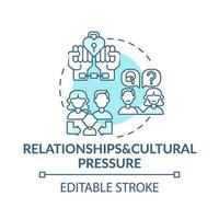 ícone do conceito turquesa de relacionamento e pressão cultural vetor