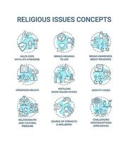 questões religiosas e valores conjunto de ícones de conceito turquesa vetor