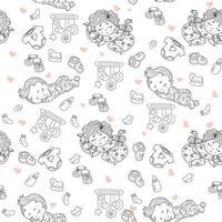 padrões sem emenda. bebê fofo de pijama dorme no travesseiro. desenhos decorativos de bebês com brinquedos e chocalhos, mamilos, roupas, sapatos em um fundo branco. contorno. vetor. coleção infantil vetor