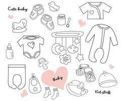 grande conjunto de rabiscos. roupas, brinquedos e coisas para um bebê recém-nascido. linha, esboço. isolado no branco. ilustração vetorial vetor