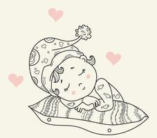 coleção de crianças. um bebezinho com um chapéu dorme sobre um travesseiro. bons sonhos. ilustração decorativa do vetor. contorno. isolado. design infantil, cartões, decorações e decoração vetor