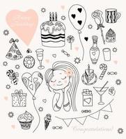 mulher com balões e doces. conjunto de doodle de aniversário de mulher. linda garota e bolo com velas, donut e caramelo, sorvete e chocolate, presentes e uma rosa. contorno. isolado no fundo branco. vetor