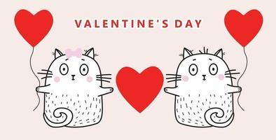 um casal apaixonado por gatos brancos com balões vermelhos e um coração nas patas em um fundo rosa. ilustração vetorial. parabéns ao dia dos namorados. para design, cartão e decoração vetor