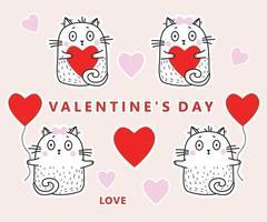conjunto de adesivos em gatos de amor com corações e balões vermelhos para dia dos namorados. ilustração vetorial. coleção de gatos bonitos brancos para design, decoração e saudação de dia dos namorados vetor