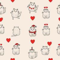 padrões sem emenda. gatos de férias em um chapéu de Papai Noel, um lenço, um boné de aniversário, com corações estão dançando e sentados sobre um fundo rosa. vetor. linha, esboço. para designs de férias, natal e dia dos namorados vetor