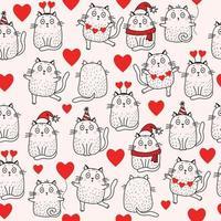 padrões sem emenda. férias e gatos em um chapéu de Papai Noel, um lenço, um chapéu de aniversariante, com corações, com um balão, dançando e sentado sobre um fundo claro. vetor. para feriados, natal e dia dos namorados vetor